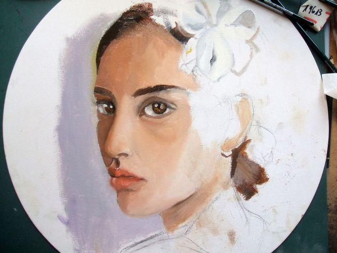 Frau, Augen, Portrait, Blick, Ölmalerei, Violett
