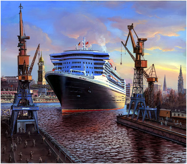 Queen mary, Queen mary2, Hamburger hafen, Maritim, Malerei, Cityscapes