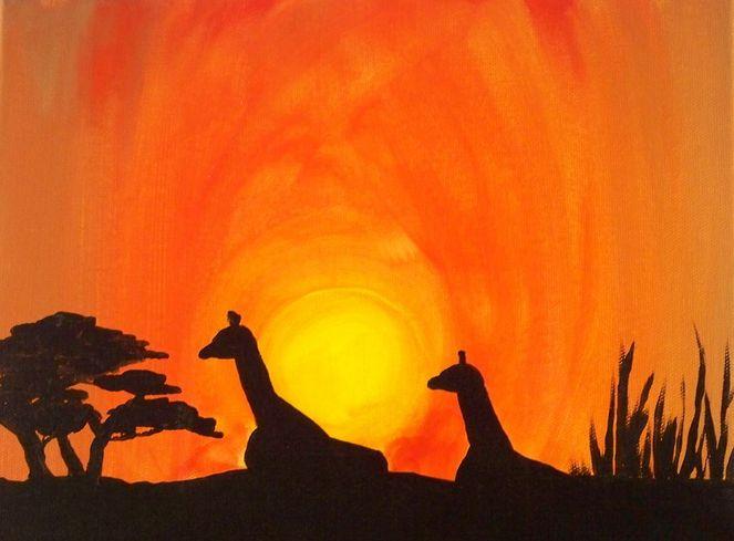 Giraffe, Schirmakazie, Dämmerung, Afrikanischer baum, Sonne, Nachmittagssonne