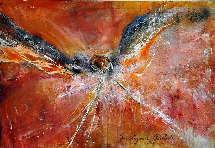 Fliegen, Acrylmalerei, Vogel, Freiheit, Hoffnung, Rot schwarz
