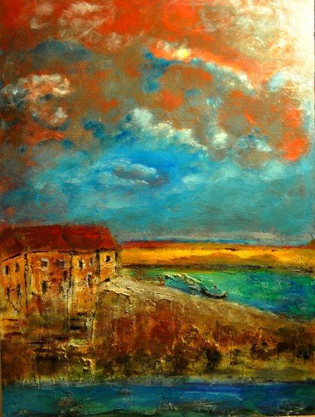 Haus, Ufer, Wasse, Landschaft, Himmel, Wolken