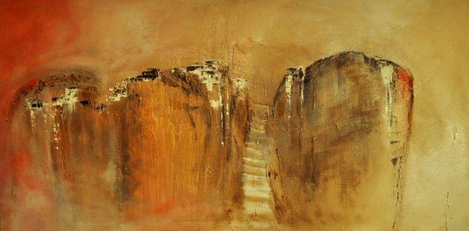 Abstrakt, Landschaft, Treppe, Hügel, Malerei, Fotografie