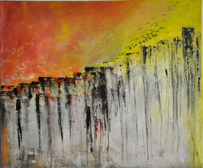 Seelensäulen, Abstrakt, Säule, Spachtel, Acrylmalerei, Malerei