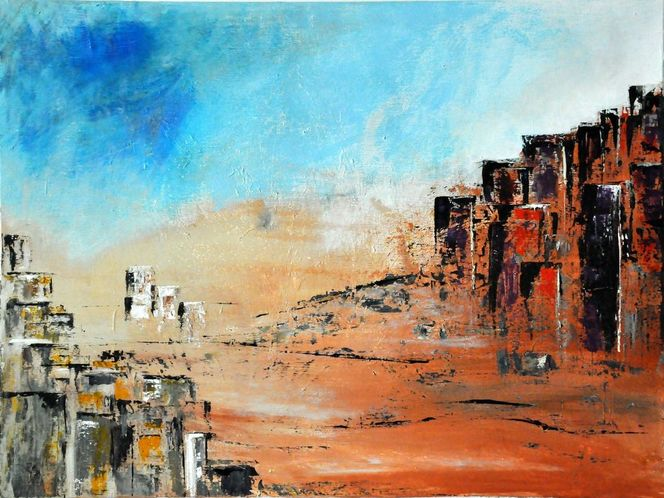 Häuser, Stadt, Spachtel, Acrylmalerei, Wüste, Malerei