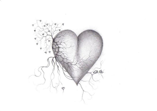 Zeichnung, Bruch, Schwarz weiß, Bleistiftzeichnung, Herz, Baum