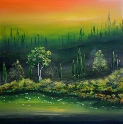 Acryluntermalung, Malerei, See