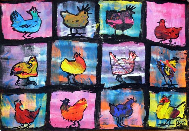 Expressionismus, Huhn, Tiere, Malerei