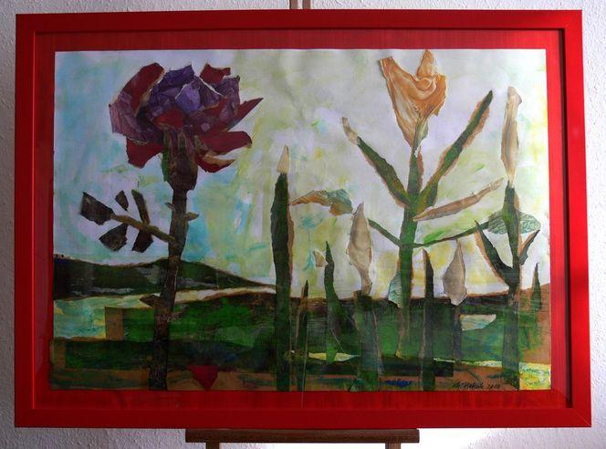 Expressionismus, Blumen, Rose, Unkraut, Malerei, Pflanzen