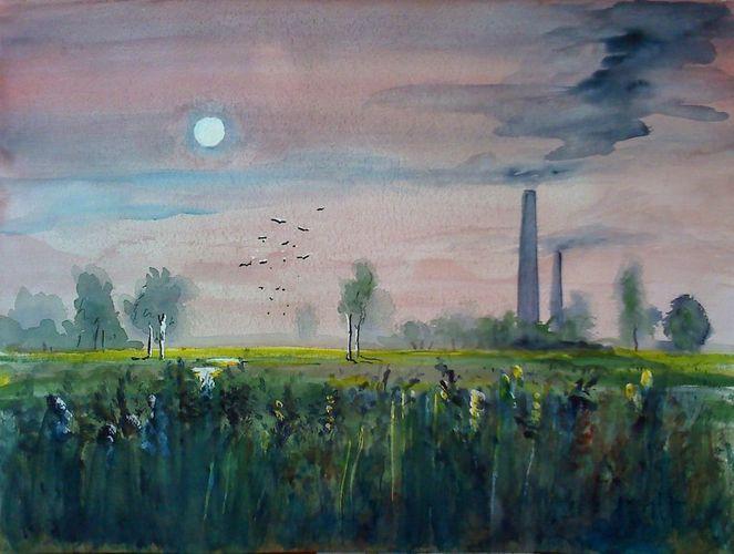 Sonnenaufgang, Aquarellmalerei, Schornstein, Nebel, Landschaft, Industrie