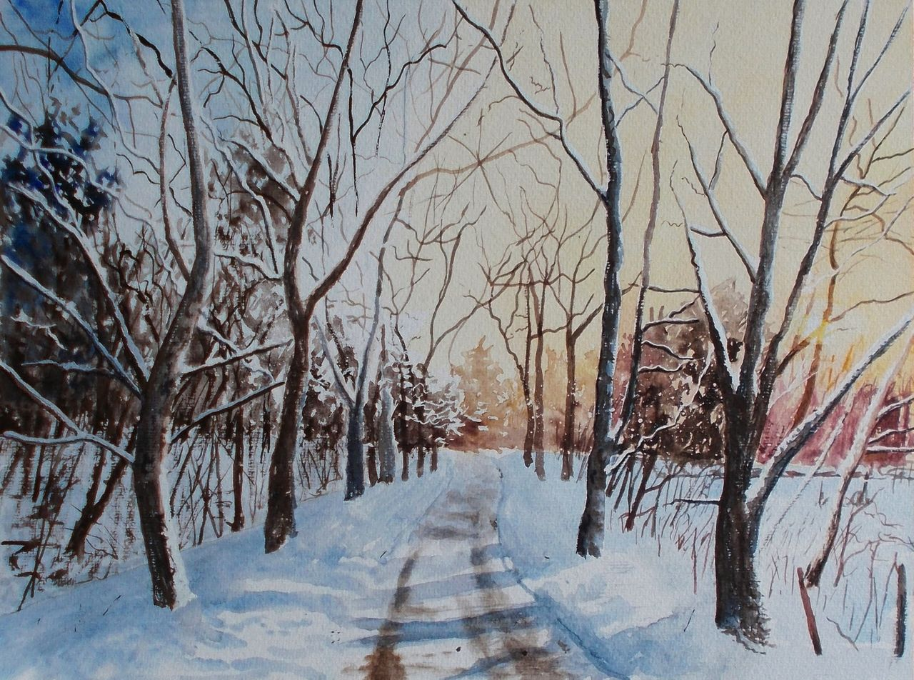 verschneiter weg morgen licht winter landschaft von antje fesl bei kunstnet. Black Bedroom Furniture Sets. Home Design Ideas