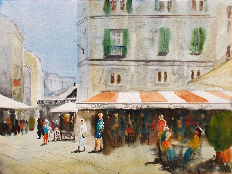 Sommer, Frankreich, Gaststätte, Menschen, Aquarell, Malerei