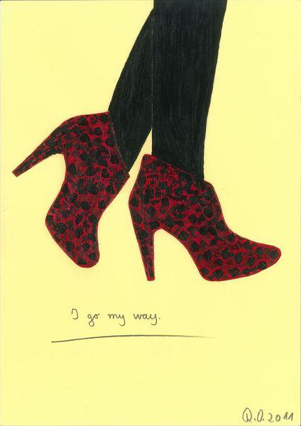 Gehen, Pumps, Acrylmalerei, Schuhe, Frauenbeine, Malerei