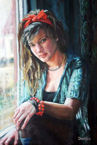 Armband, Portrait, Fenster, Mädchen, Malerei