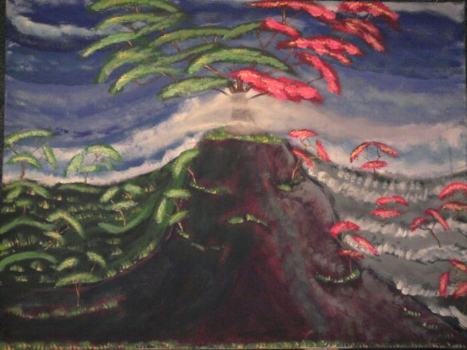 Baum, Berge, Landschaft, Malerei, Jahreszeiten