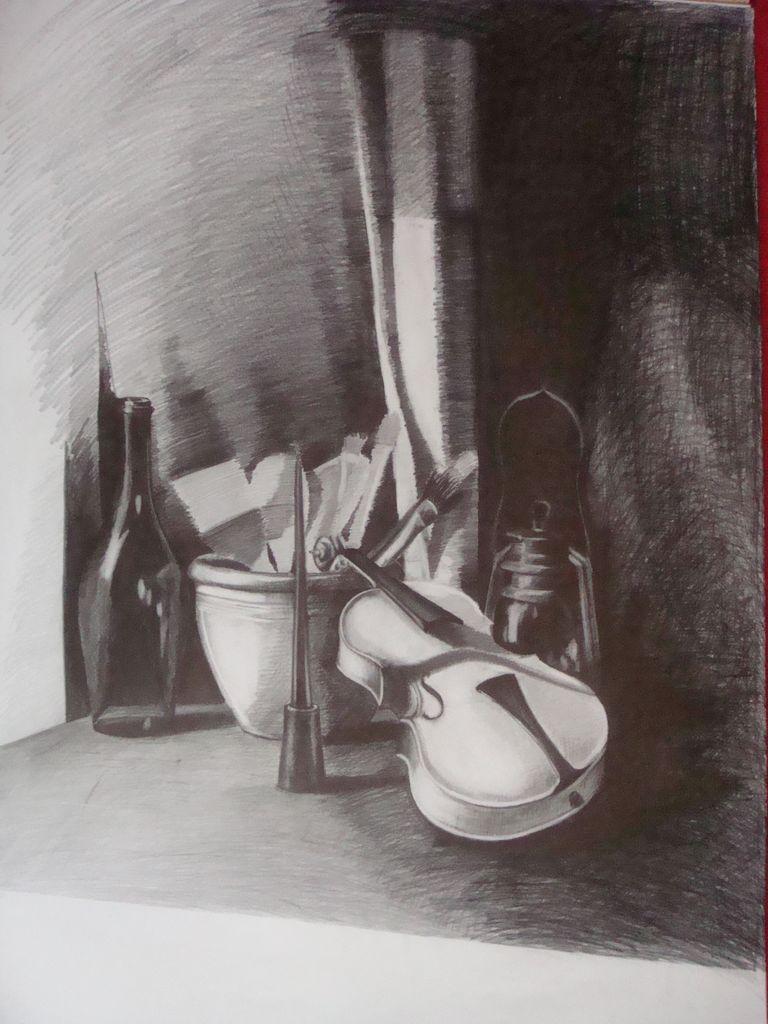 stilleben geige flasche lampe schwarz wei von boreyko bei kunstnet. Black Bedroom Furniture Sets. Home Design Ideas