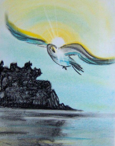 Licht, Landschaft, Vogel, Kreide, Zeichnung, Hoffnung