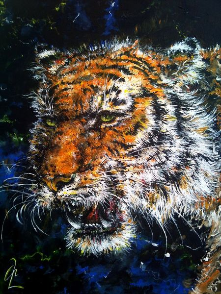 Katze, Acrylmalerei, Urwald, Tiger, Malerei, Großkatze