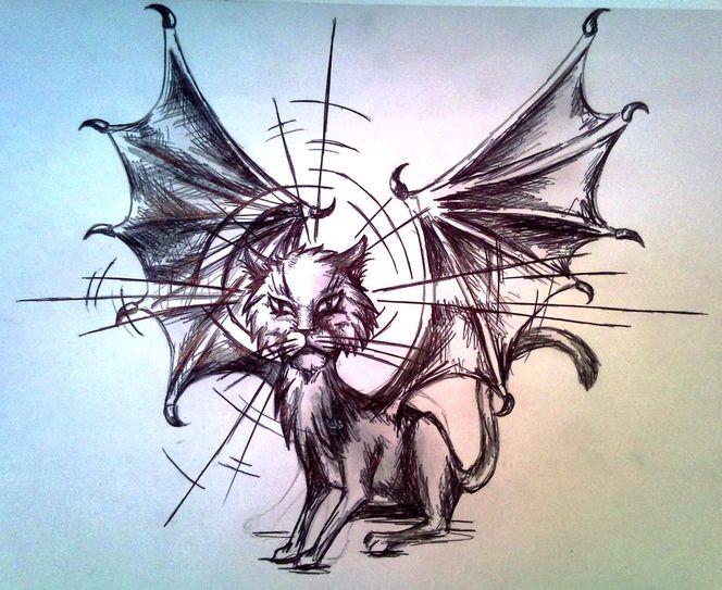 Heiligenschein, Bleistiftzeichnung, Böse, Grimmig, Flügel, Katze
