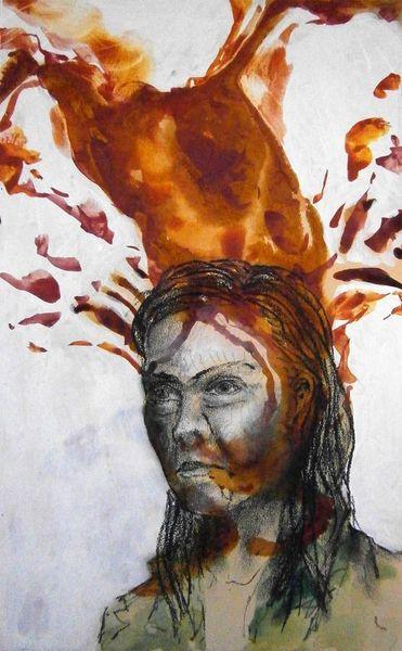 Portrait, Menschen, Zeichnung, Kohlezeichnung, Tuschmalerei, Malerei