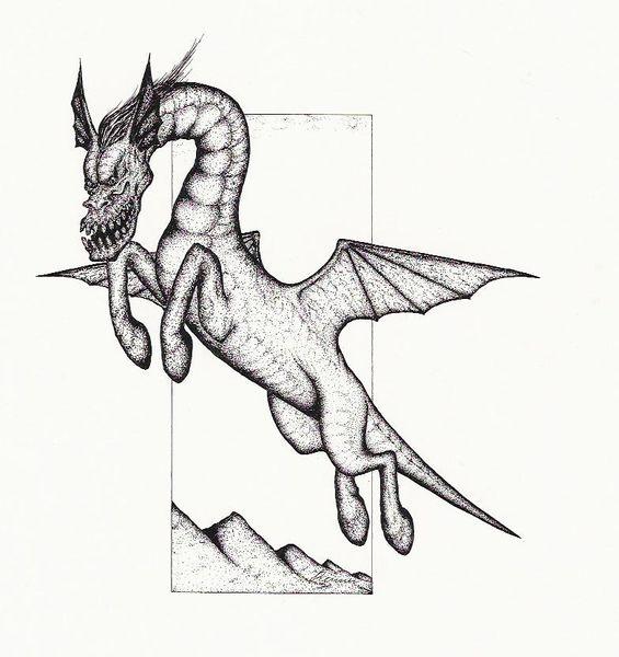 Drache, Dämon, Draco, Schwarz, Fantasie, Skizze
