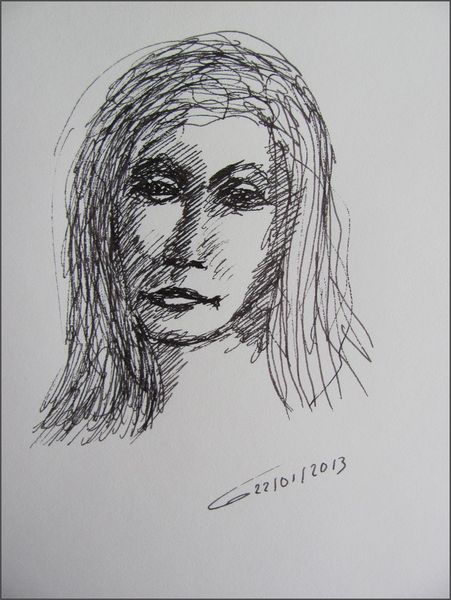 Frauenportrait, Langhaarig, Junge frau, Zeichnungen, Portrait,
