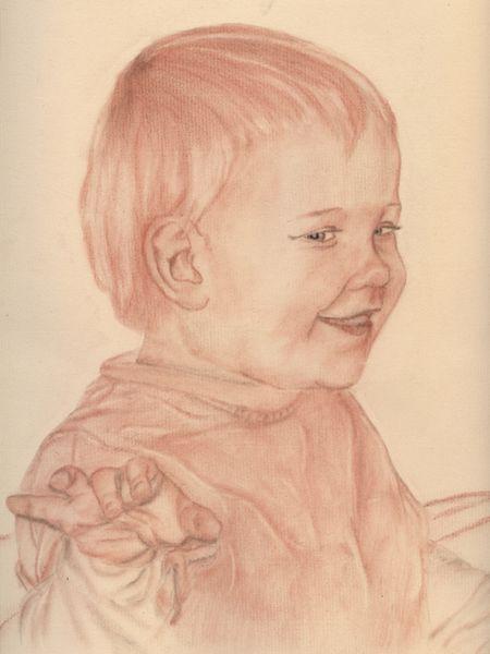 Lachen, Zeichnung, Portrait, Rötel, Kind, Zeichnungen