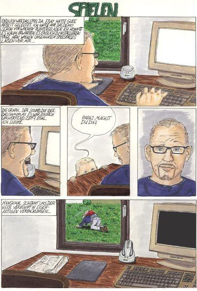 Computer, Kind, Comic, Humor, Zeichnungen, Spielen