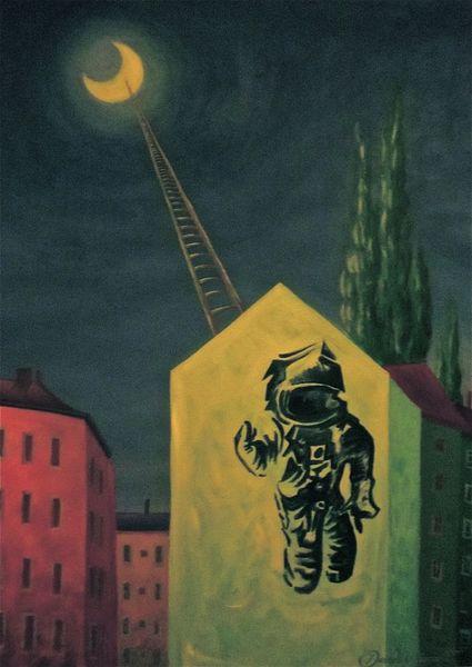 Malerei, Surreal, Astronaut