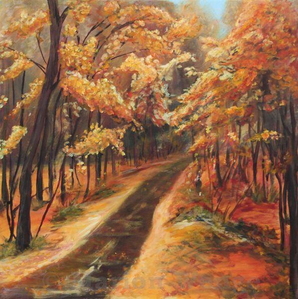 Weg, Rot, Baum, Herbst, Wald, Malerei