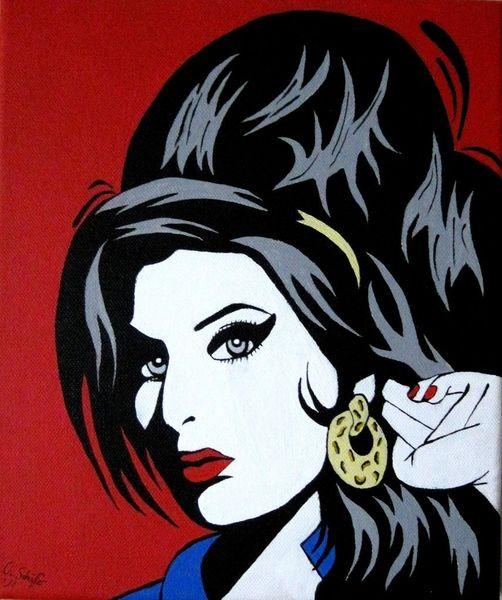 Portrait, Amy, Tribut, Acrylmalerei, Rot schwarz, Winehouse