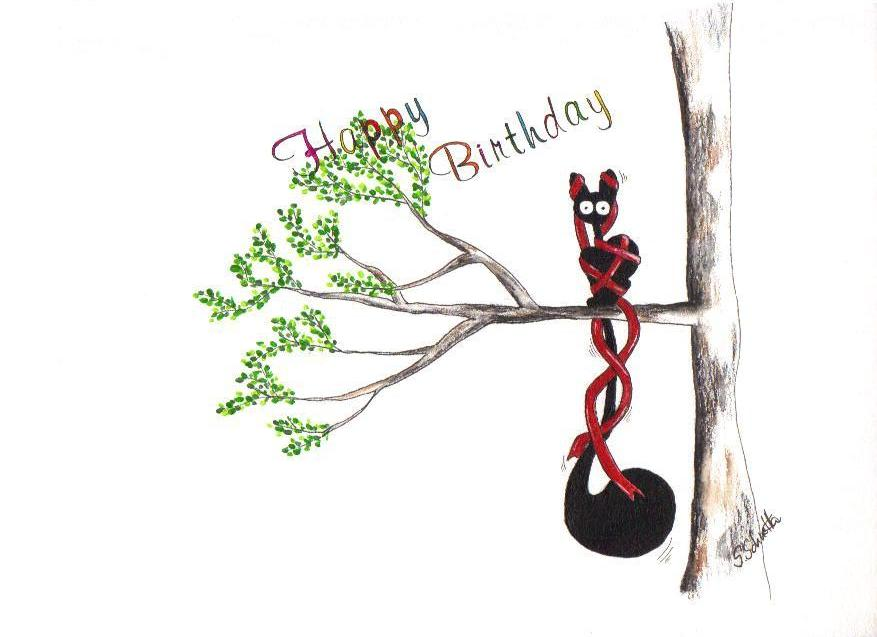 Happy Birthday Nr 12 Comic Katze Freude Figur Von