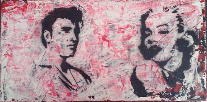 Vintage, Pop art, Kiss and roll, Acrylmalerei, Malerei,
