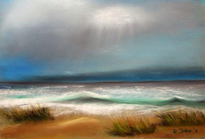 Meer, Wasser, Gras, Himmel, Sand, Pastellmalerei