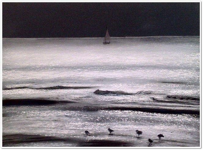 Meer, Pastellmalerei, Wasser, Boot, Landschaft, Glitzern