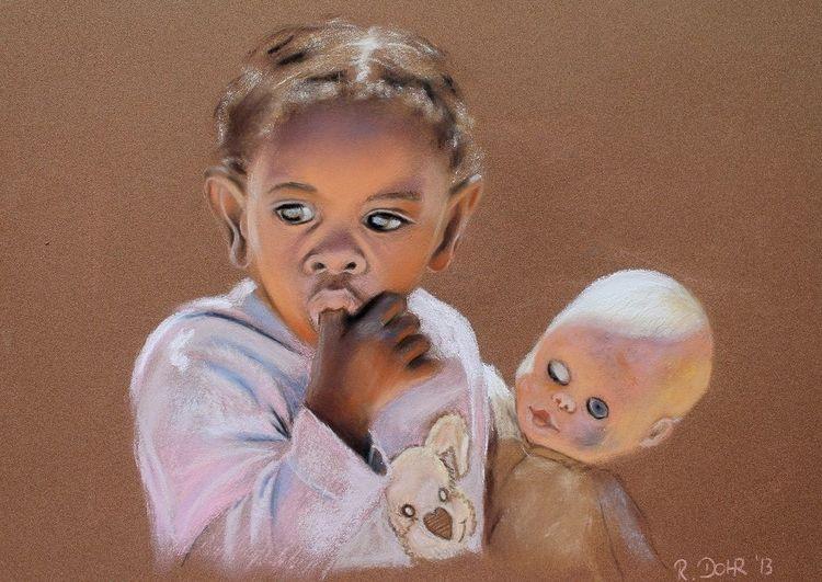 Portrait, Pastellmalerei, Kind, Puppe, Afrika, Malerei