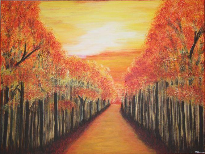 Acrylmalerei, Wald, Blätter, Sonnenuntergang, Rot, Harmonie