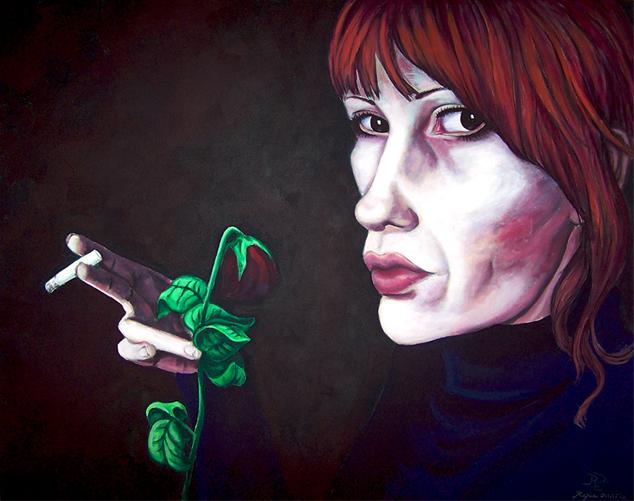 Düster, Frau, Acrylmalerei, Rose, Welk, Malerei