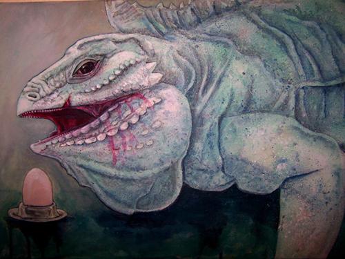 Gigant, Reptil, Leguan, Acrylmalerei, Malerei, Mutter
