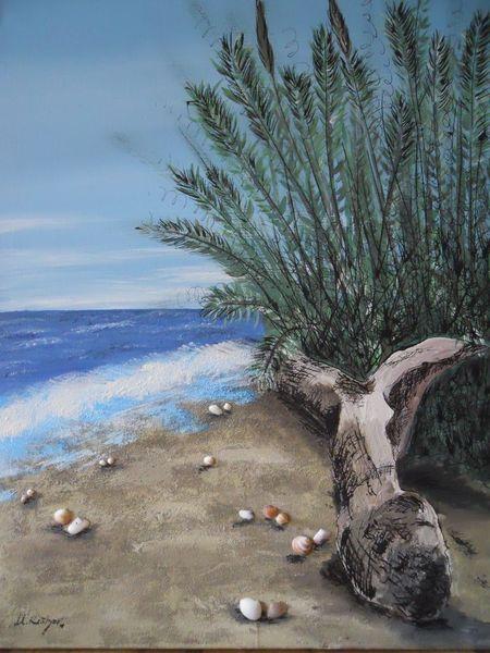 Meer, Am strand, Acrylmalerei, Baum, Welle, Muschel