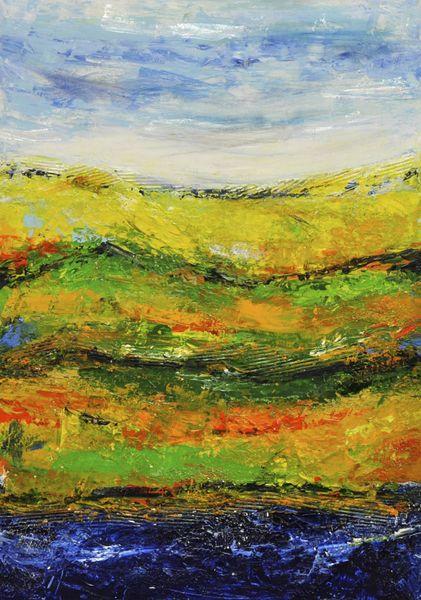 Bewegung, Wolken, Modern, Grün, Landschaft, Orange