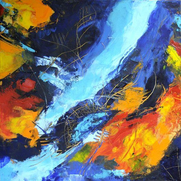 Kontrast, Spachteltechnik, Blau, Expressionismus, Modern, Sgraffito