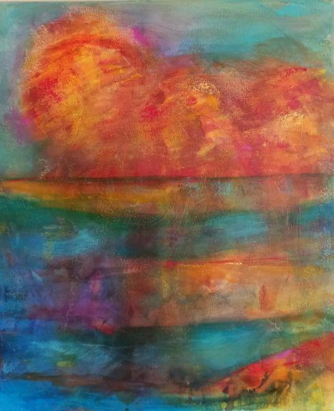 Wasser, Tuschmalerei, Lack, Spiegelung, Acrylmalerei, Herbst