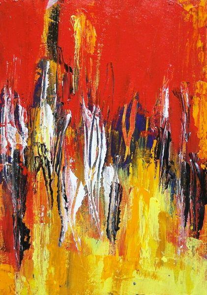 Modern, Emotion, Acrylmalerei, Expressionismus, Brennende häuser, Brand
