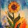 Spachteltechnik, Sonnenblumen, Sonne, Acrylmalerei