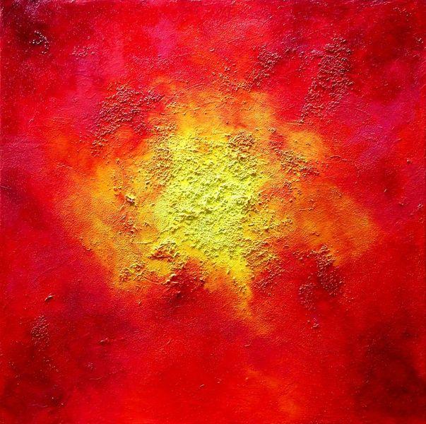 Rotverläufe, Farbstruktur, Schichtmalerei, Acrylmalerei, Monochrom, Strukturierter untergrund