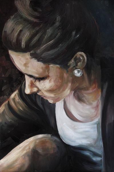Gemälde, Mädchen, Hübsche, Portrait, Licht, Ölmalerei