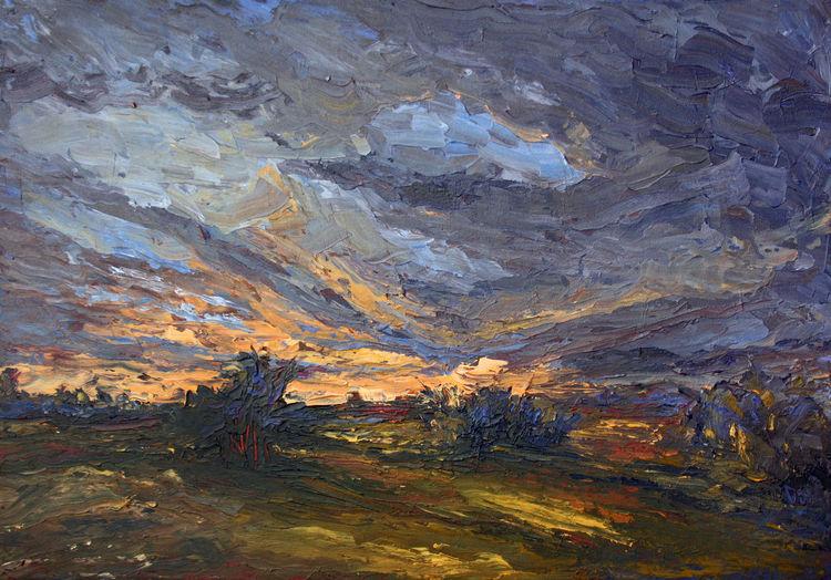 Wolken, Horizont, Abend, Sonnenuntergang, Westen, Feld