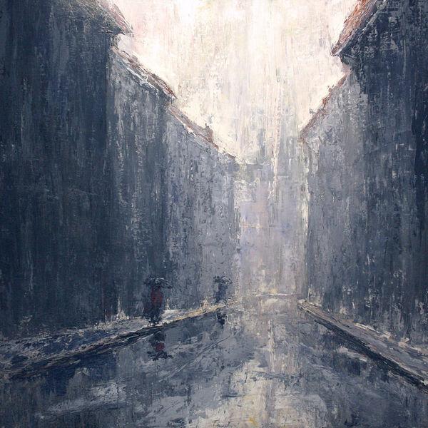 Stadt, Wetter, Verregnen, Regen, Spiegelung, Himmel