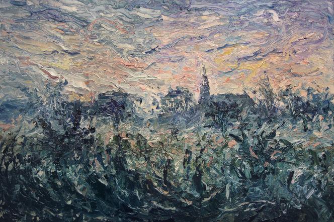 Nebel, Kälte, Impressionismus, Wintermorgen, Herzkamper kirche, Sonnenaufgang