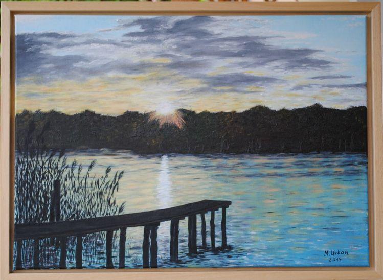 Scharmützelsee, Wasser, Sonnenuntergang, Steg, Malerei, Abend